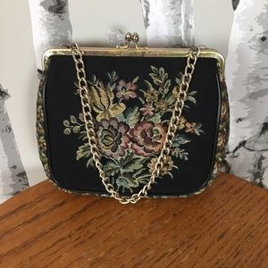 Vintage black tapestry bag with chain strap
